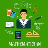 Mathematician or teacher with education objects poster