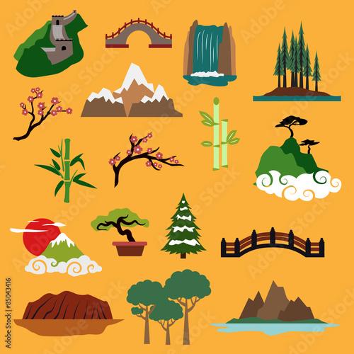 Nature landscape elements and buildings