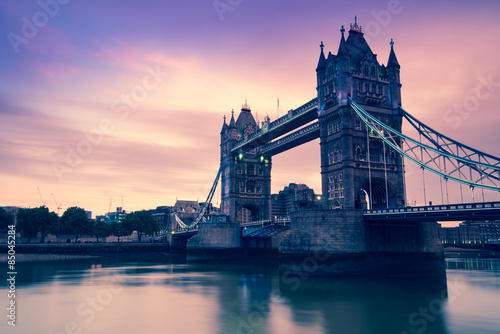 Tower Bridge in London at twilight, vintage effect