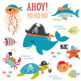 Set of cute undersea pirate design elements