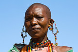 Fototapety Portrait of a Maasai woman with traditional jewelry.