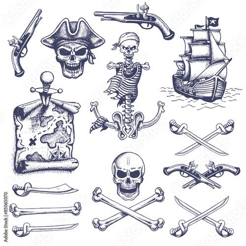 Fototapeta Set of vintage hand drawn pirates designed elements