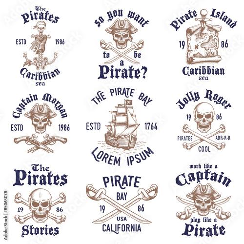 Fototapeta Set of vintage hand drawn pirates designed emblems, labels