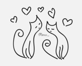 two cats in love couple hearts fly purr poster