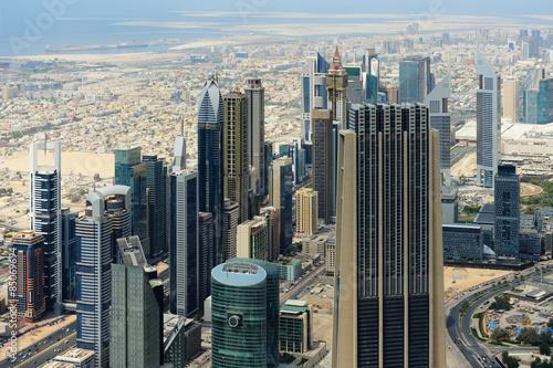 Fototapeta Aerial view of World Trade center in Dubai