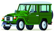 Постер, плакат: Caricatura Toyota Land Cruiser vista frontal y lateral