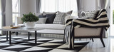 Fototapety modern living room interior with black and white checked pattern