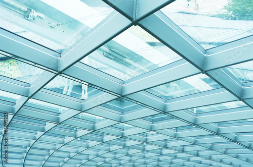 Building Abstract. Modern reinforced steel glass Wall