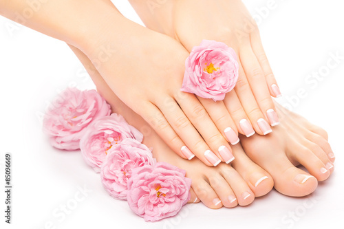 Papiers peints Pedicure Relaxing pedicure and manicure with a pink rose flower
