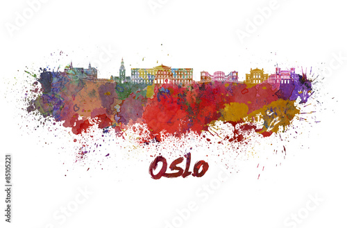 Zdjęcia Oslo skyline in watercolor