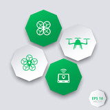 Drones, Tricopter, Multicopter, Quadrocopter octagonal 3d icons poster