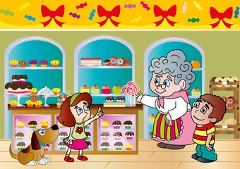 cukiernia,babcia,babka,babeczka,dzieci,chłopiec,dziewczynka,pies,lizaki,tort,bezy,sernik,bułeczki,regał