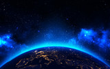 Fototapety Earth view from outer space background with night city lights, blue shining stars and galaxy