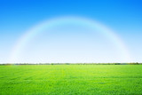Fototapeta Green grass field and blue sky with rainbow