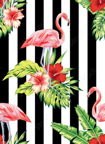 Materiał do szycia flamingo, hibiscus and plants striped pattern