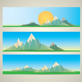 Low poly Mountains web banners