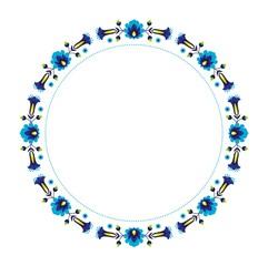 blue folk flower frame
