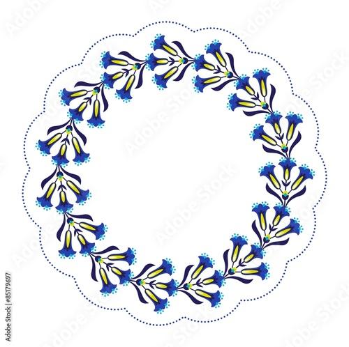 niebieska-ramka-kwiat-ludowy