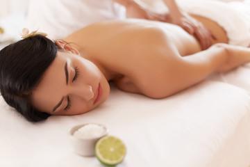 Spa Woman. Close-up of a Beautiful Woman Getting Spa Treatment. © puhhha