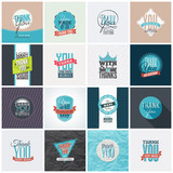 Fototapety Collection of 16 vintage Thank You card designs. Well structured vector file with each card template on separate layer.