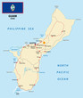Постер, плакат: Guam map with flag