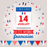 Greeting card design for The Bastille Day 14 july