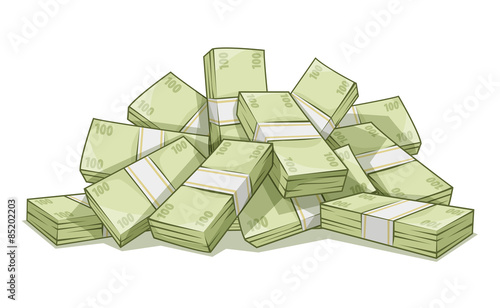Hill of bundles with money. Eps10 vector illustration.