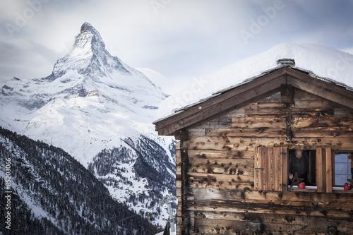 Poster Swiss Chalet in front of Matterhorn