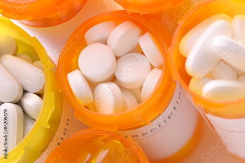 Prescription Bottles Top View Closeup Plakat
