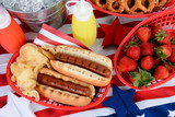 Fototapety Hot Dogs on 4th of July Picnic Table