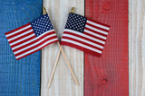 Two American Flags on Painted Wood Background - 85209489