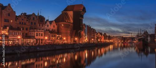 obraz PCV Gdańsk - Noc panorama nabrzeża Motławy