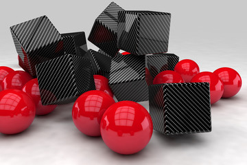 Red balls interact with black carbon cubes. 3D render image. © marinv