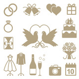 Wedding related vector silhouette icons set - 85229056