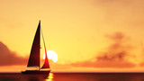 Fototapeta sailboat and sunset