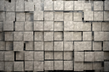 Field of brown square plates with stone texture. 3d render image © marinv
