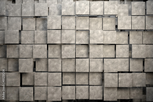 Field of brown square plates with stone texture. 3d render image
