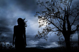 Fototapety The Woman silhouette with full moon