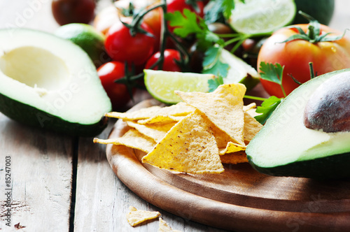 Plagát, Obraz Concept of mexican food with raw vegetables