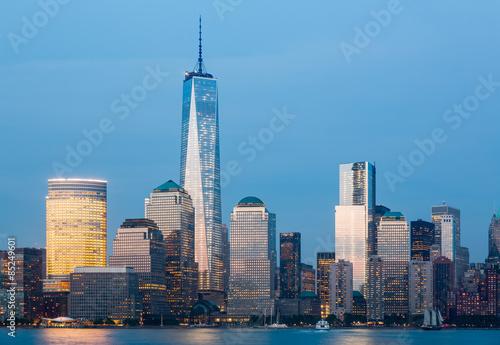 Poster Skyline of Lower Manhattan at night