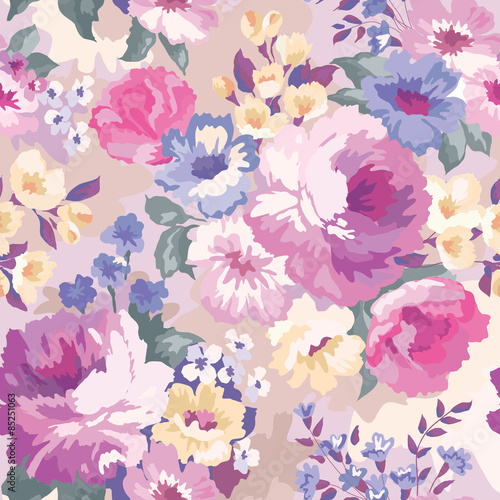 Cotton fabric Beautiful seamless floral pattern with watercolor background. Flower vector illustration