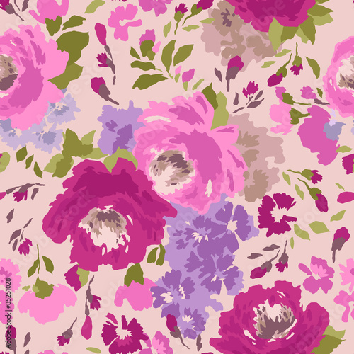 Seamless vintage pattern with flowers. Vector illustration. плакат