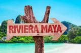 Riviera Maya wooden sign with beach background - Fine Art prints