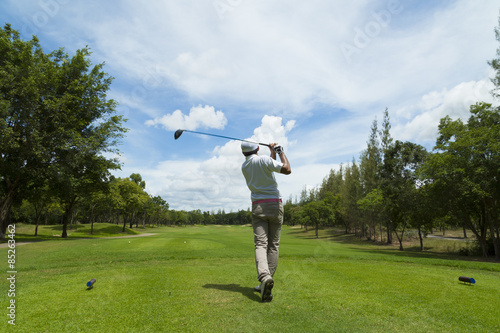 Fototapeta widely golf course in very nice day summer with player