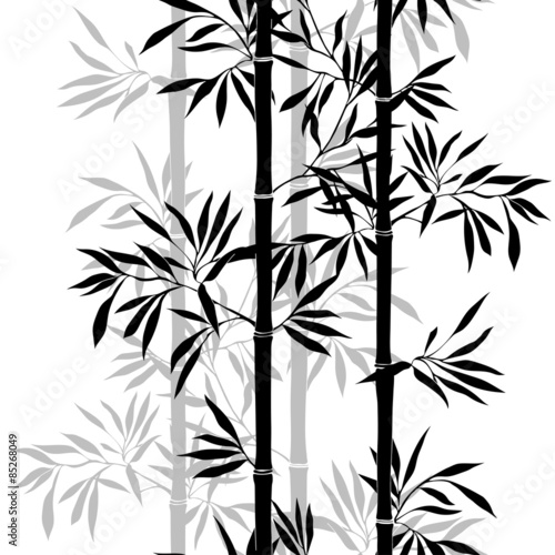 Fototapeta Bamboo leaf background. Floral seamless texture with leaves.