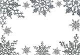 Fototapety Sillver Christmas Snowflake Border