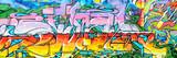 Fototapety graffitis aux couleurs vives sur murs et gouttières