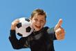 canvas print picture - Kind mit fussball