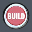 Постер, плакат: Build Red 3d Button Begin Construction Development Work