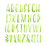 Fototapety Hand drawn calligraphic green watercolor font.